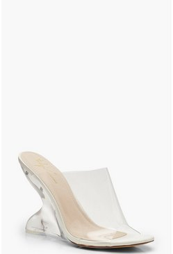 Womens White Feature Heel Mule Wedges