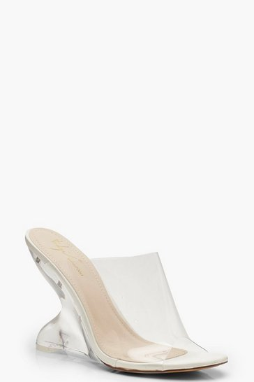White Feature Heel Mule Wedges