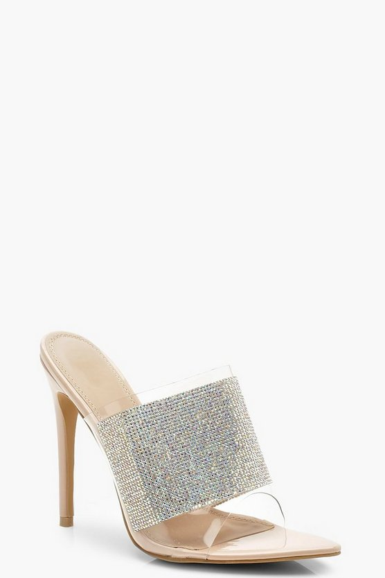 Womens Clear Diamante Peeptoe Mules