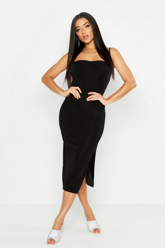 Black Cowl Neck Midi Dress