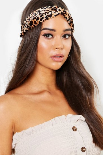 Womens Multi Leopard Print Twist Knot Headband