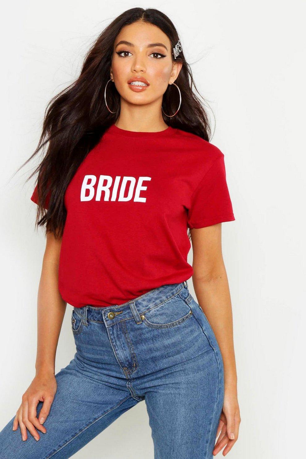 d66964a6eefb2f T-shirt con scritta Bride | Boohoo