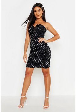 Womens Black Bandeau Polka Dot Ruched Bodycon Mini Dress
