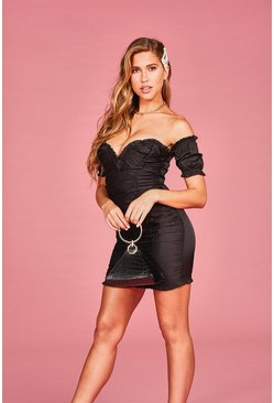 Womens Black Woven Bardot Ruffle Rouched Mini Dress