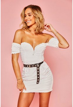 Womens White Woven Bardot Ruffle Rouched Mini Dress
