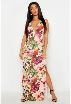 Womens Pink Plunge Floral Maxi Dress