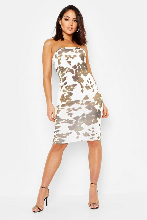 Womens White Bandeau Bodycon Midi Dress