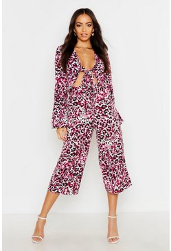 Womens Pink Woven Leopard Tie Front Co-Ord