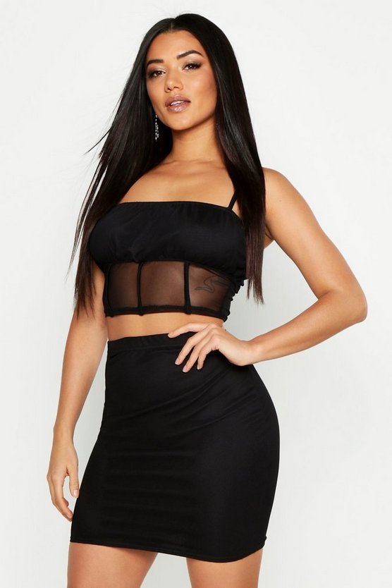 Womens Black Ruffle Detail Mesh Top & Mini Skirt Co-Ord