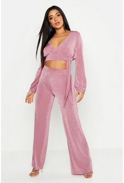 Womens Mauve Tie Front Volume Sleeve Top & Trouser Co-ord