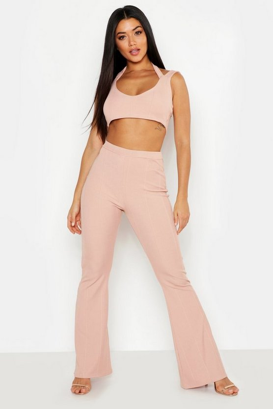 Womens Nude Cross Strap Bandage Bralet & Wide Leg Trouser