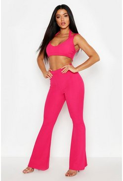 Womens Pink Cross Strap Bandage Bralet & Wide Leg Trouser