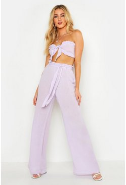 Womens Lilac Cheesecloth Frill Bralet & Belted Wide Leg Trouser