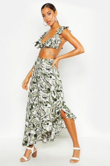 Womens Green Palm Print Strappy Bralet & Ruffle Maxi Skirt