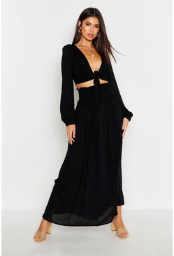 Womens Black Cheesecloth Tie Front Top & Shirred Maxi Skirt
