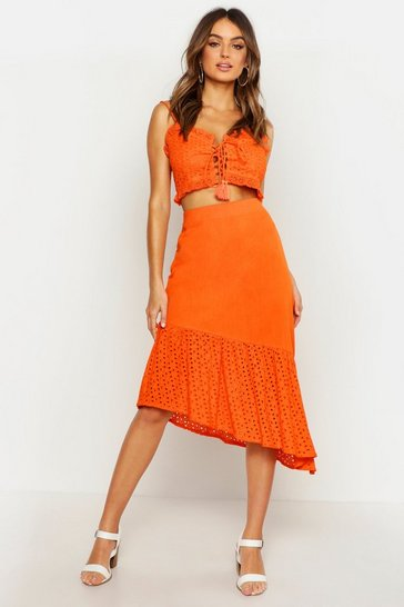 Womens Orange Broderie Lace Up Bralet & Asymetric Midi Skirt