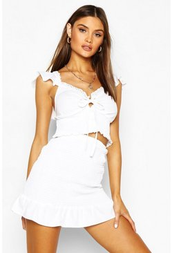 White Frill Detail Shirrred Top & Mini Skirt Co-ord Set