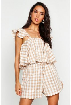 Womens Stone Frill Sleeve Gingham Top & Short Co-ord