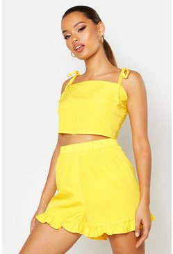 Yellow Tie Back Top & Short Co-ord