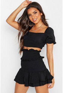 Womens Black Shirred Double Layer Ruffle Skirt