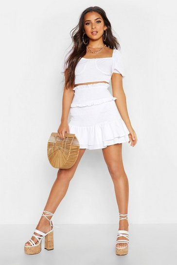 Womens White Shirred Double Layer Ruffle Skirt
