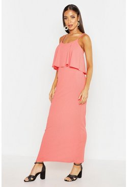 Womens Coral Rib Double Layer Strappy Maxi Dress