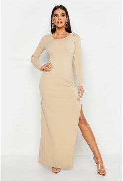 Womens Stone Extreme Split Maxi Dress