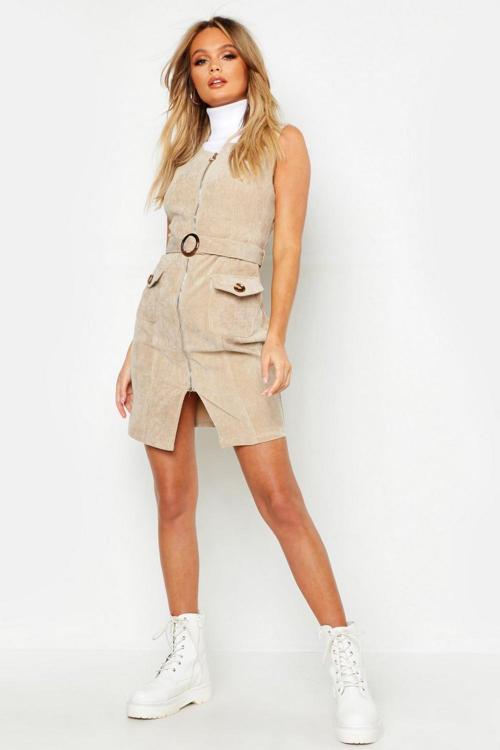 Cord Belted Pinafore Dress by Boohoo