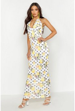 White Lemon Plunge Halterneck Maxi Dress