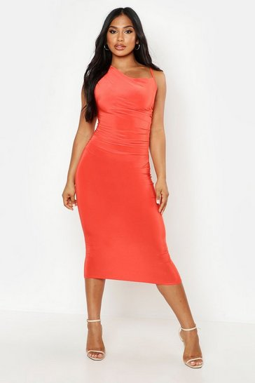 Womens Orange One Shoulder Rouched Slinky Midi Dress