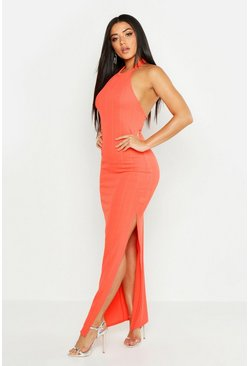 Womens Coral High Neck Wide Rib Maxi Dress