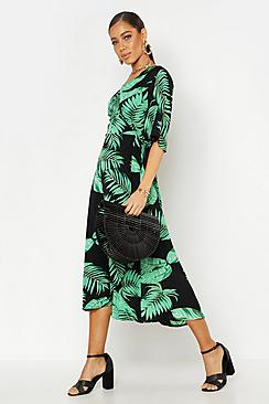 Woven Wrap Tie Belt Maxi Dress