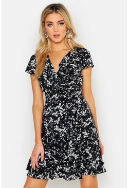 Womens Black Woven Ditsy Floral Tea Dress