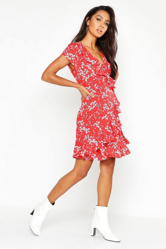 Womens Red Woven Ditsy Floral Tea Dress