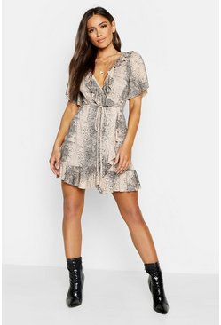 Womens Stone Snake Wrap Ruffle Tea Dress