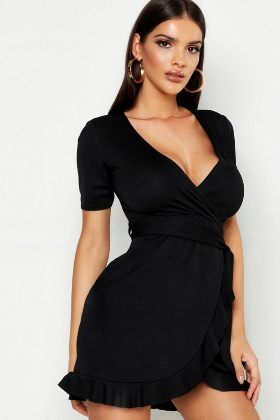 Womens Black Wrap Tie Ruffle Tea Dress