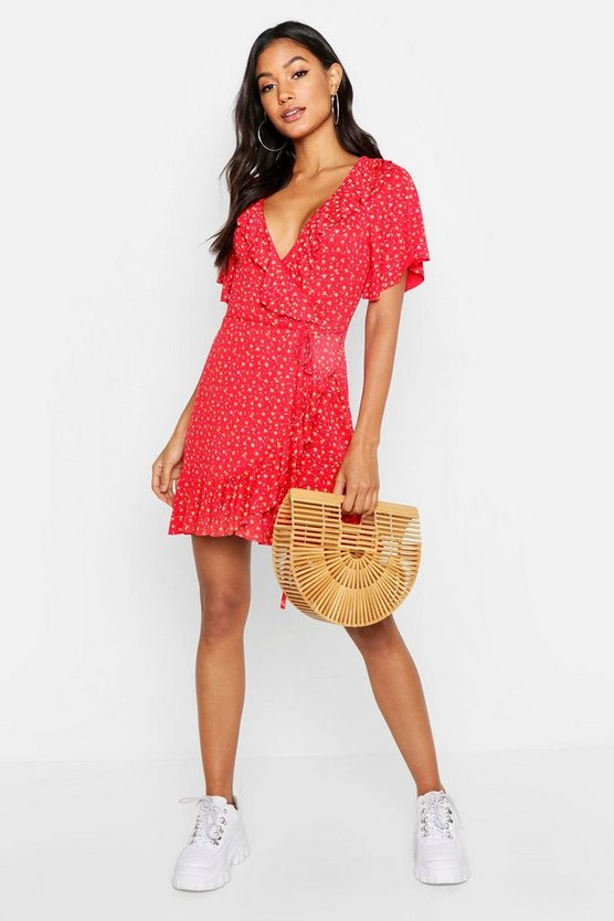 Womens Red Ditsy Floral Wrap Ruffle Tea Dress