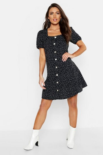 Womens Black Woven Button Through Shift Dress