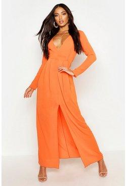Womens Orange Woven V Neck Split Front Maxi Dress