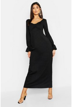 Womens Black Jersey Peasant Buckle Maxi Dress