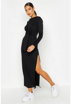 Womens Black Jersey Knitted Side Knot Maxi Dress