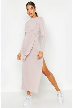 Womens Stone Jersey Knitted Side Knot Maxi Dress