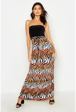 Womens Black Zebra Print Bandeau Maxi Dress