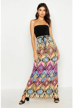 Womens Black Geo Print Bandeau Maxi Dress