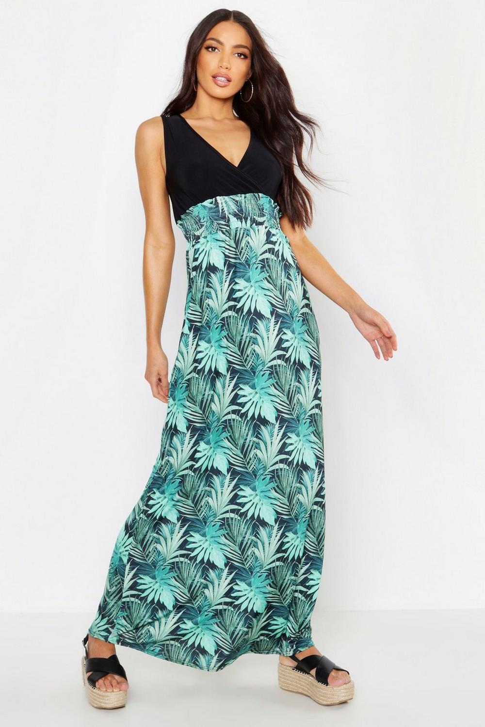 6274a4316c33 Womens Black Palm Print Maxi Dress. Hover to zoom