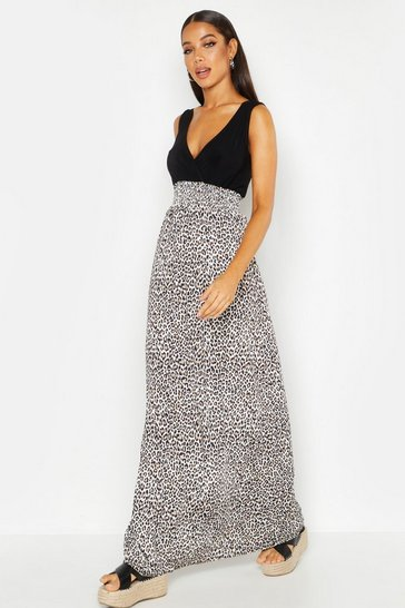Womens Black Leopard Print Maxi Dress