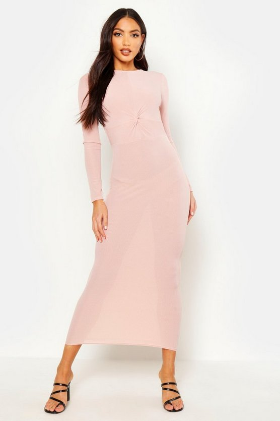 Womens Soft pink Rib Long Sleeve Twist Maxi Dress