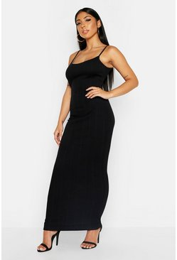 Womens Black Strappy Wide Rib Maxi Dress