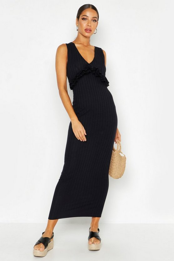Womens Black Rib Ruffle V Neck Maxi Dress