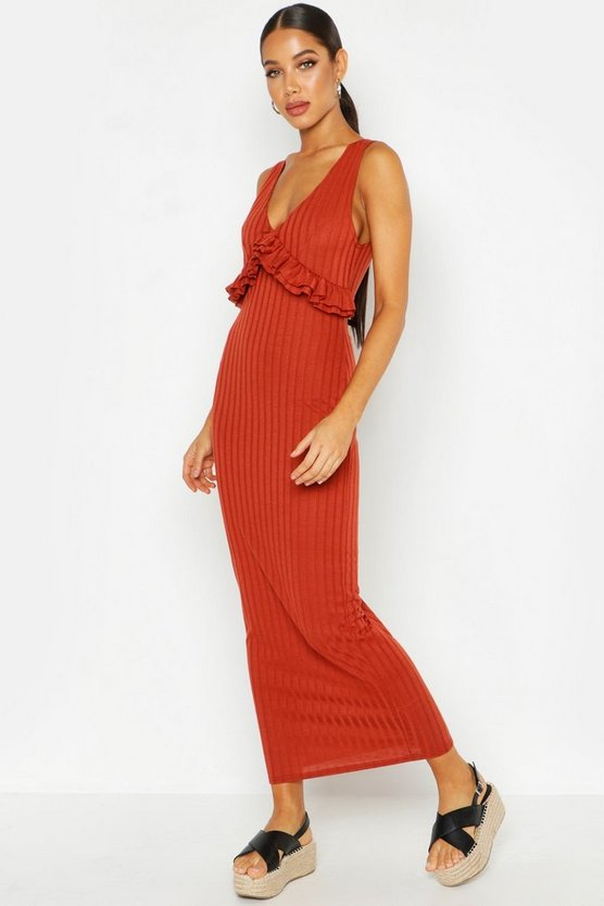 Womens Terracotta Rib Ruffle V Neck Maxi Dress